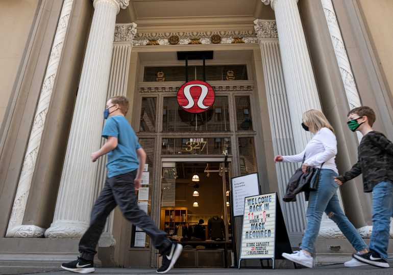 Lululemon first-quarter sales rise 88%, topping estimates, as store traffic rebounds