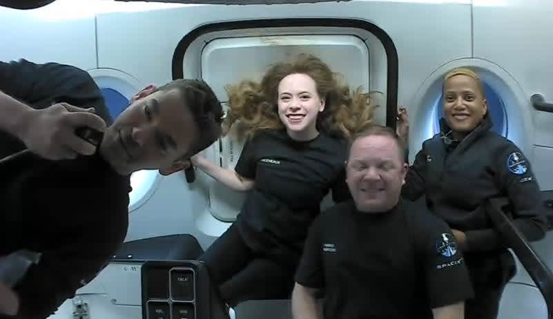 SpaceX's Inspiration4 crew speaks from orbit, with return slated for Saturday